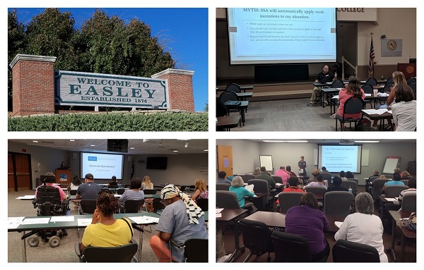 Photos in a grid: the welcome to Easley sign, and the Myrtle Beach, Florence, and Columbia workshops.