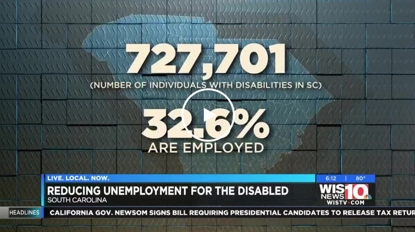 Screenshot of a video from the news story that says there are 727,701 individuals with disabilities in SC and 32.6% of them are employed.
