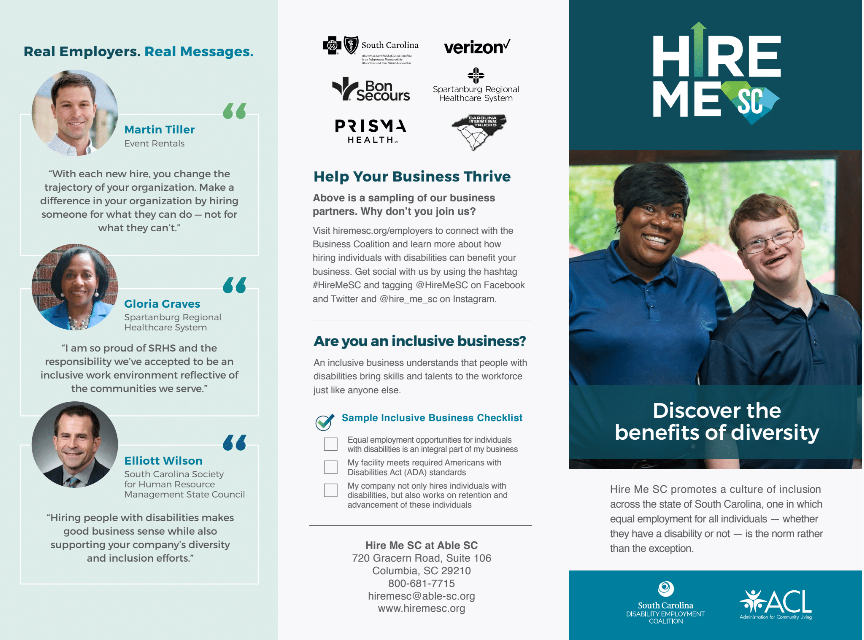 A preview of the Hire Me SC trifold brochure. To view the full brochure, click the photo to follow the link.