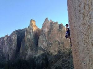 Ginni Chen sport climbing at Smith Rock in Oregon