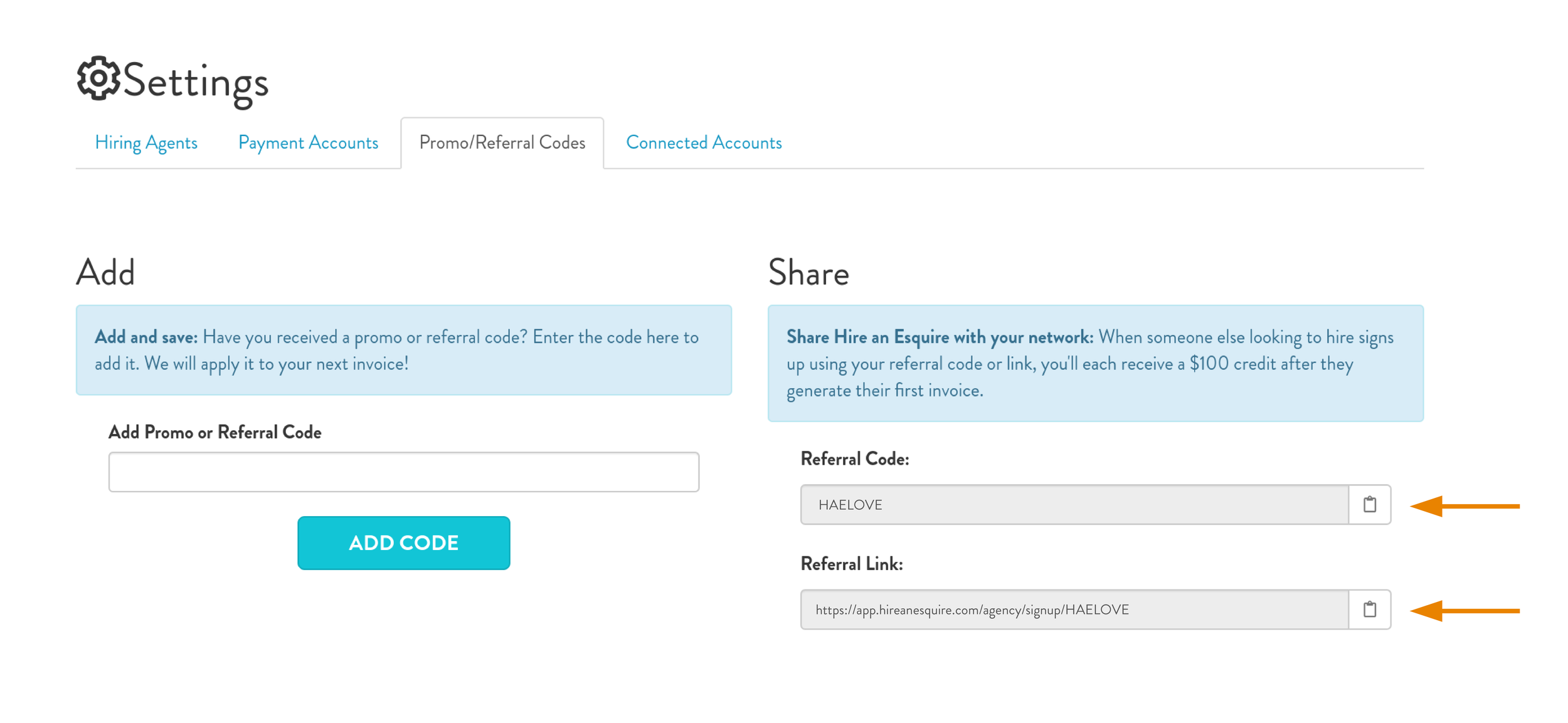 hire an esquire referral share settings for legal recruiters and legal agencies.png
