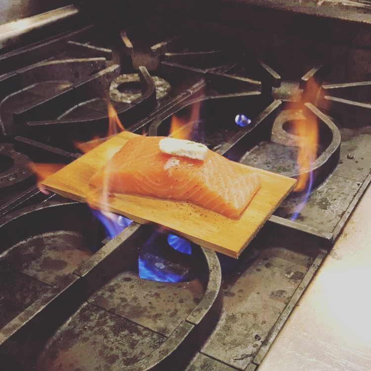 Roasting Salmon on plank.JPG