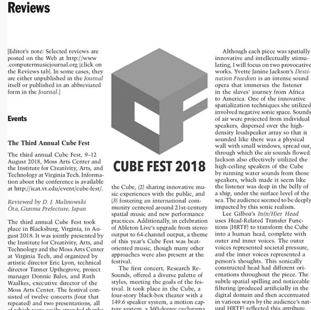 excited to have In(n/ H)er Head included on a #cubefest review in the @mitpress #computermusicjournal along with the amazing Destination Freedom by my friend @yvettejaninejackson  Link to the full article in the comments!