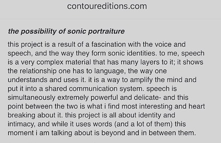 my first album The Possibility of Sonic Portraiture is released  by #contoureditions  can't even tell you how honored i am to have my work live between the works of some of the people i admire and look up to the most. thank you for everything @garet_ny !! Link in bio! . . . . #soundart #newmusic #sonicportrait #multichannelaudio #experimentalmusic #womeninmusicproduction #womeninmusicandtechnology #newalbum #spokenword #abletonlive #electronicmusic #vocalprocessing #musicproducer #femalemusicproducer #berkleefeat