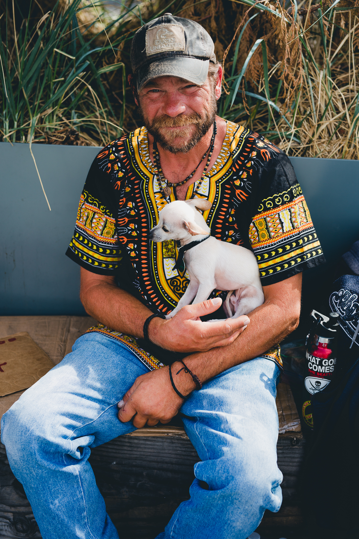 Homeless Man and His Dog, Seattle, United States, July 2017