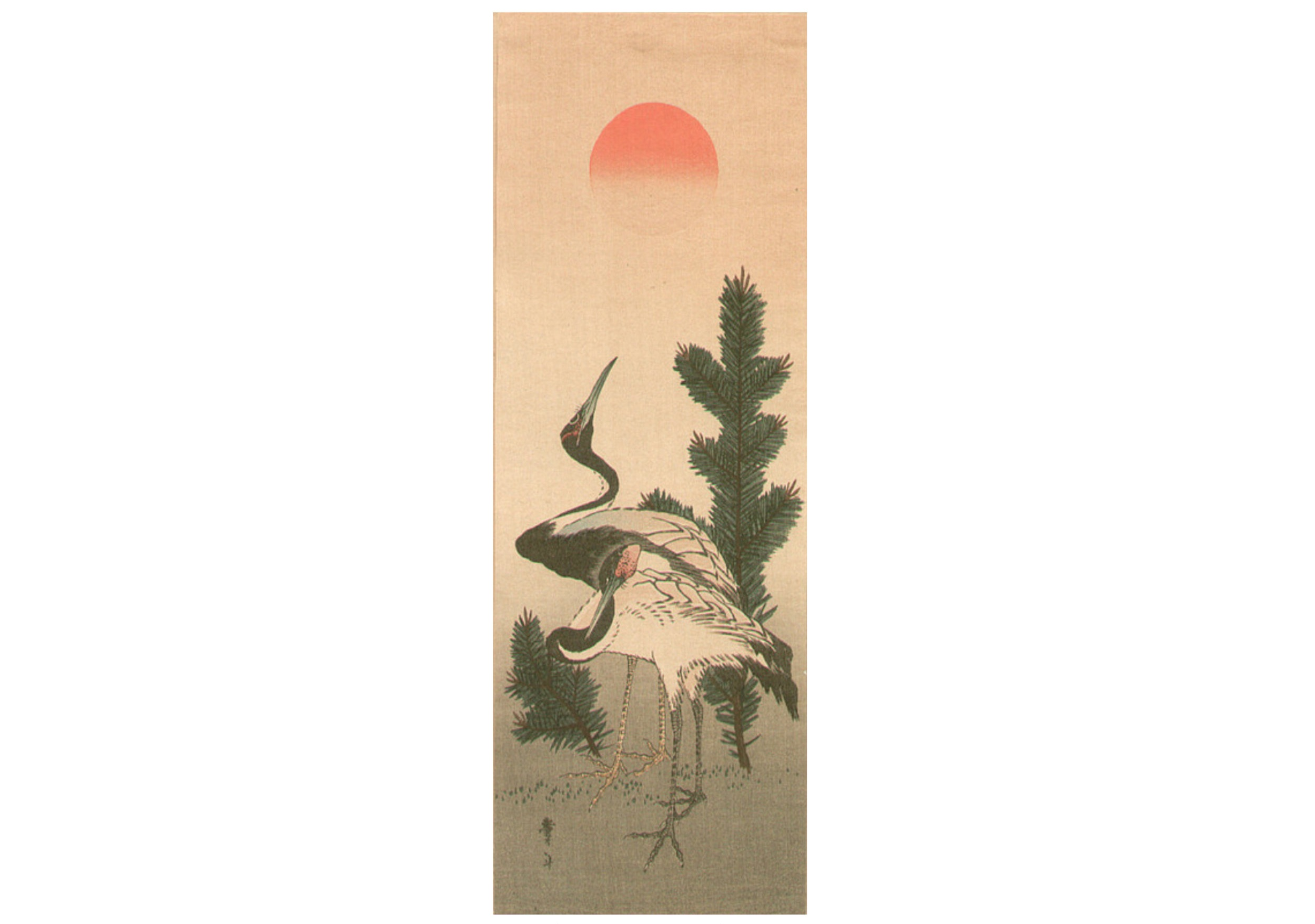 Hokusai | 2 cranes and sunrise | Edo Period