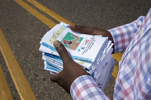 Mohamed Amin Ahmed, an activist who aims to counteract Islamic State efforts on social media, planned to distribute nearly 10,000 pamphlets at a Somali festival in Minneapolis in July.PHOTO:SARAH STACKE FOR THE WALL STREET JOURNAL