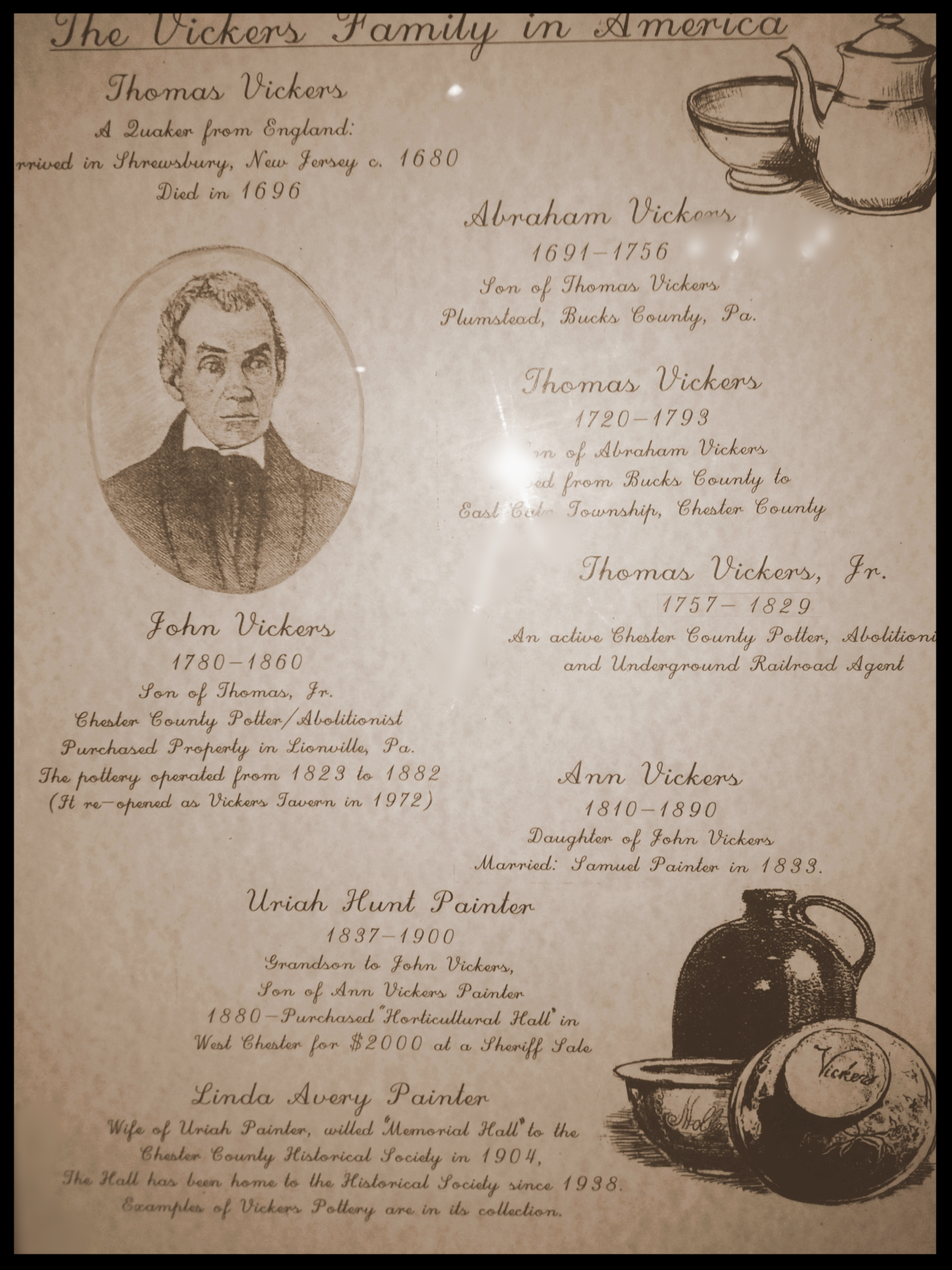 In 1823 John Vickers a skilled potter, fierce abolitionist and one of the most influential voices - in the Lionville area-purchased the farmhouse that is now known as Vickers, an award winning restaurant that has delighted Chester County residents with fine food and dining for over three decades. Here, his history begins.