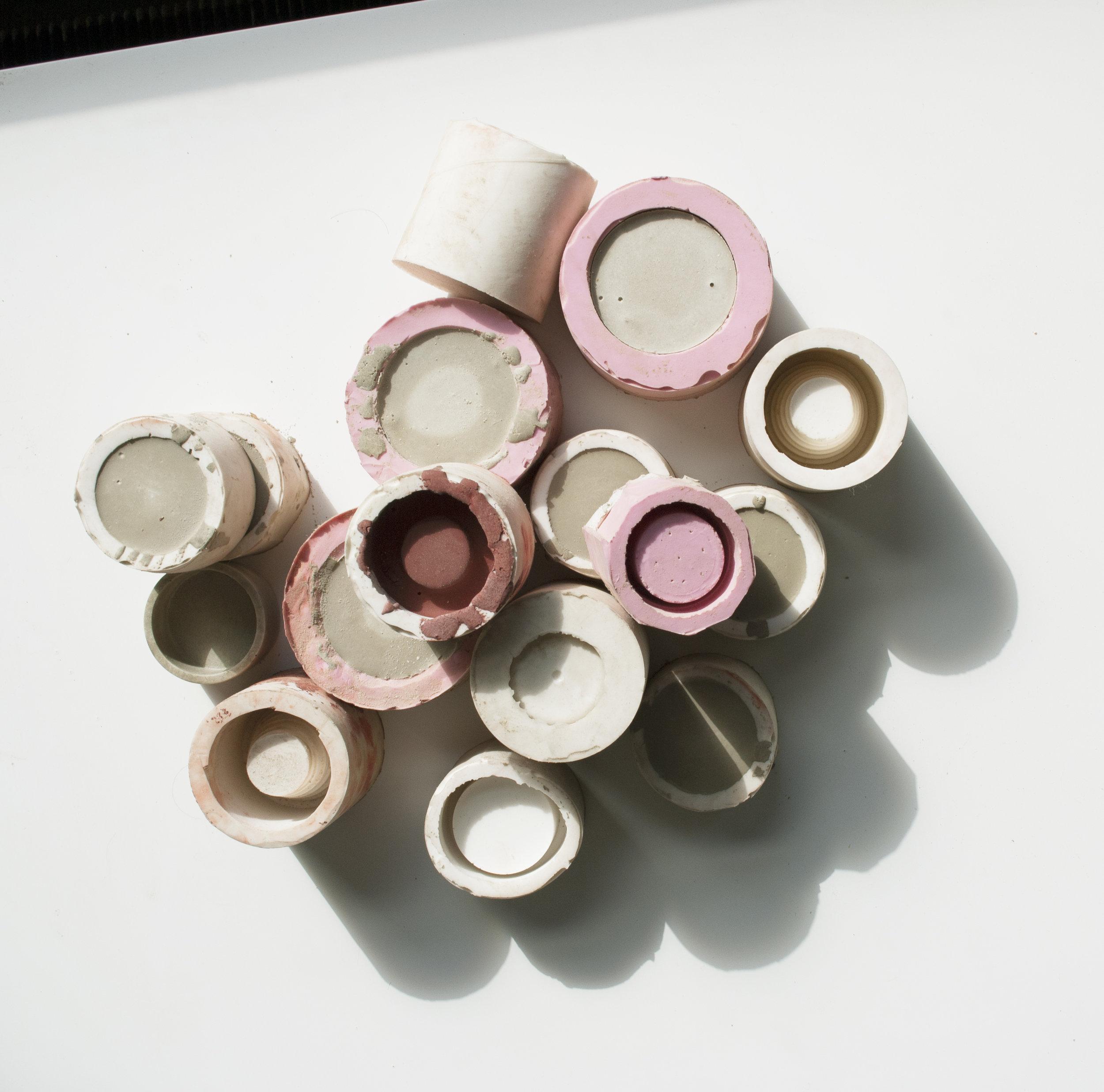 Moulage en silicone // Pots en béton