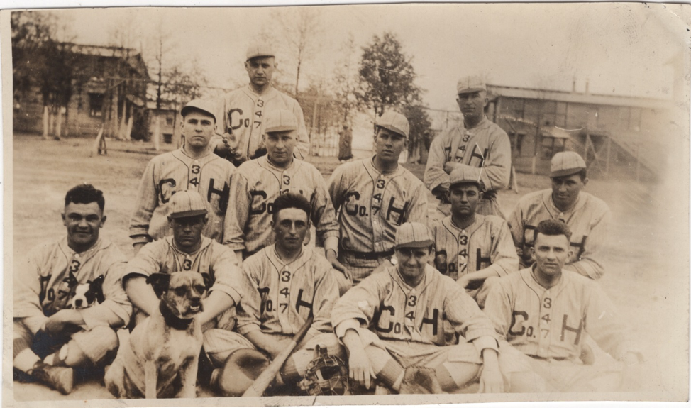 USS Brooklyn Baseball Team with Dog