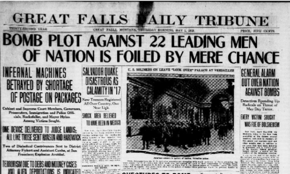 Newspapers across the country reported on the bombs.