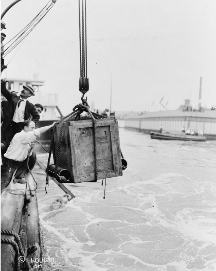 Crate Containing Harry Houdini Being Lowered into the Water