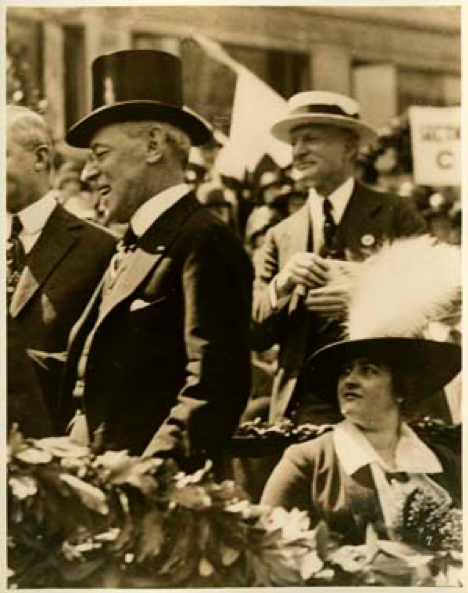 Here They are, Reviewing a Red Cross Parade on the Day They Married