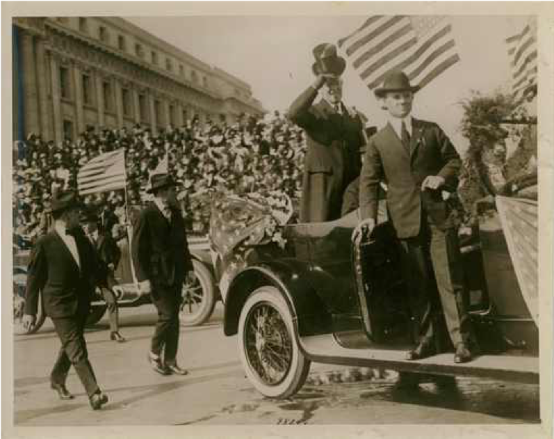 President Wilson in Parade Car with Security