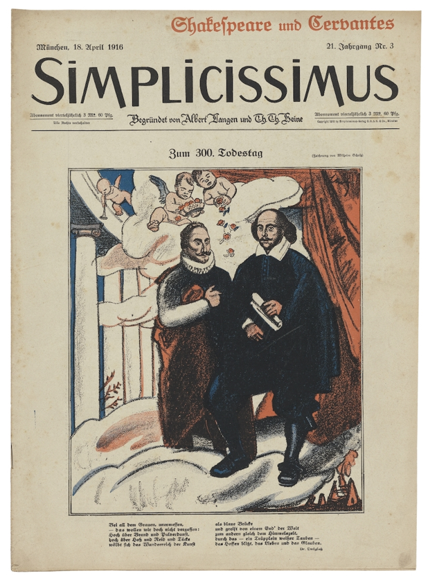 Simplicissimus  printed during the war for the 1916 anniversary of Shakespeare's death that is owned by the Folger Library