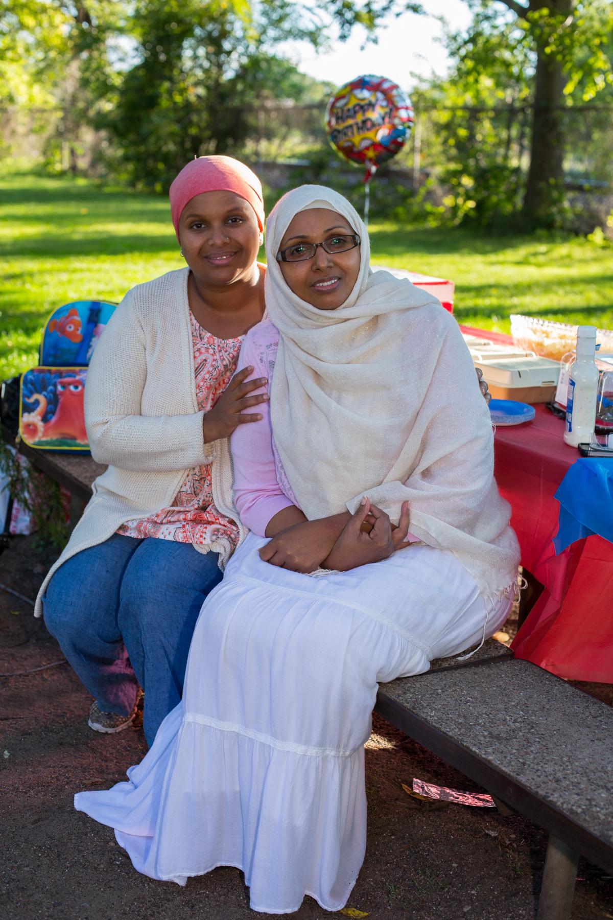 Malika - with her stepmother Samiya, right