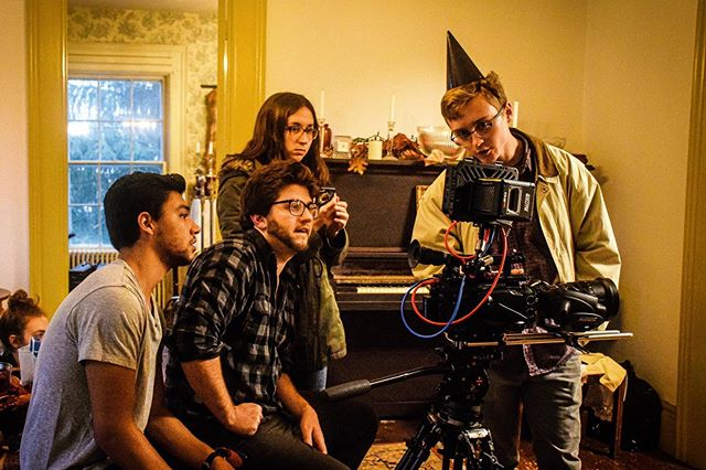 """Throwback to when we were younglings and just happy to be making a real movie for the first time bts of """"The House on Pumpkin Drive""""  #410pictures #thehouseonpumpkindrive #midnightmovie #oldschoolhorror #horrorshortfilm #goats"""