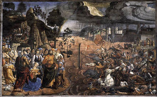 "Sistine Chapel's ""The Crossing of the Red Sea"". Domenico Ghirlandaio, Cosimo Rosselli or Biagio d'Antonio. (1481-1482)"