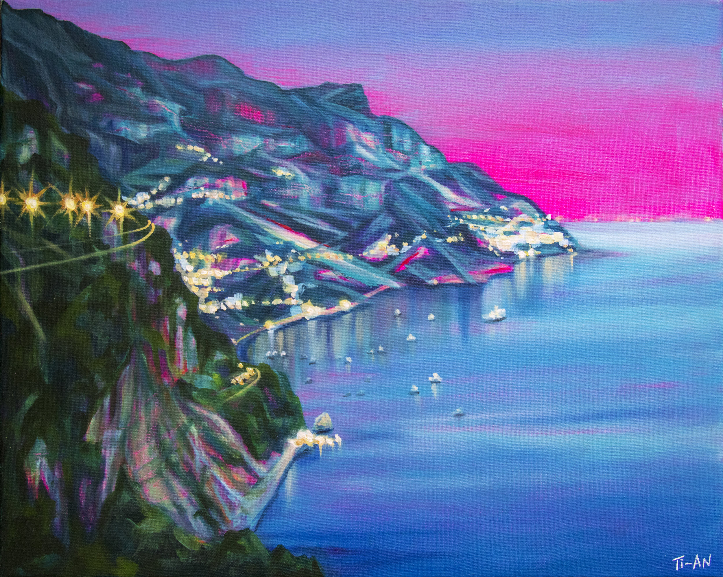 Approaching Positano at Dusk   16x20, oil and acrylic on canvas  2017