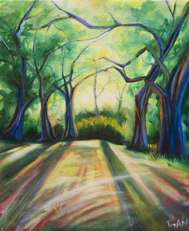 Sundown at York Mills Valley Park   11x14, oil and acrylic on canvas  2017