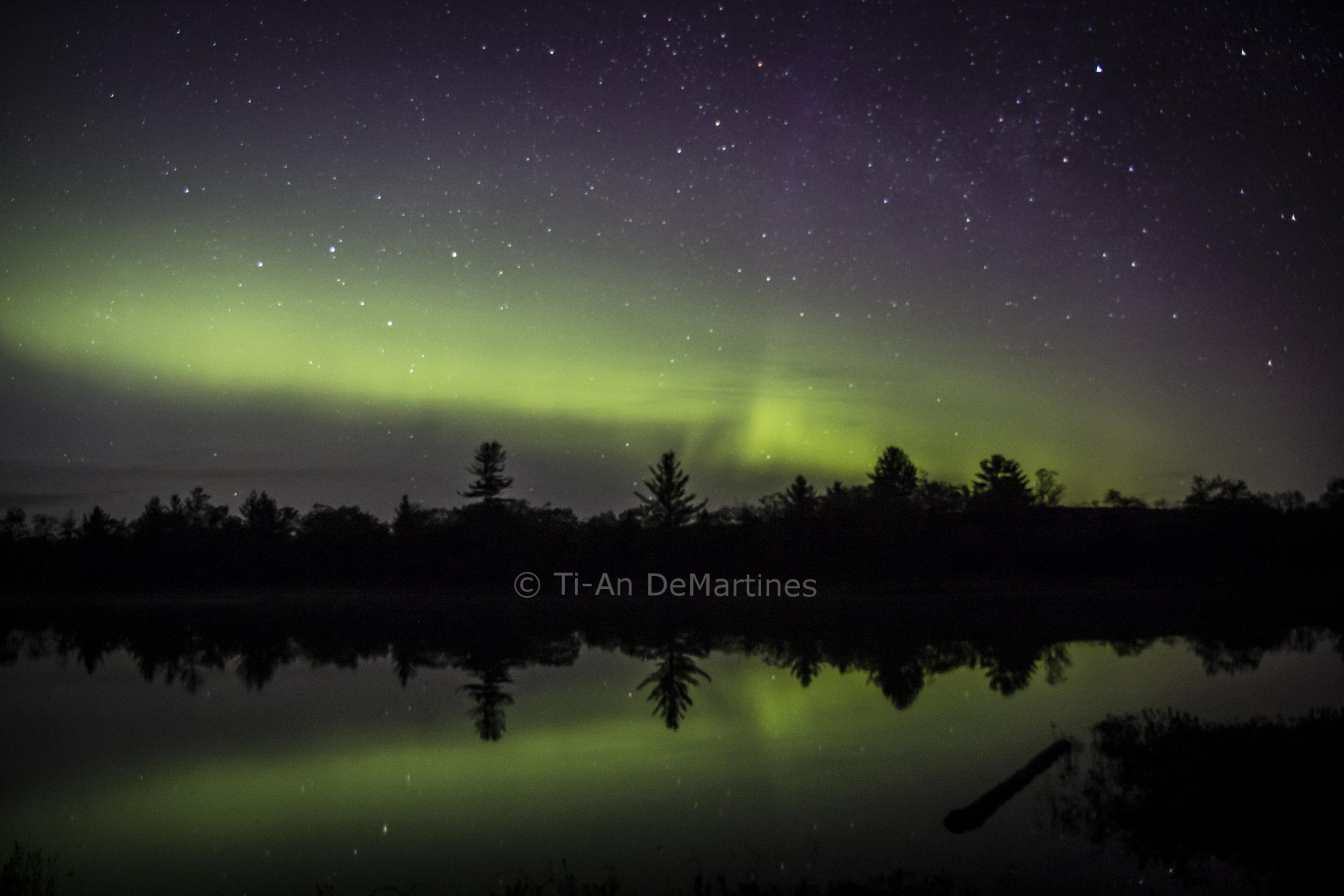 The Northern Lights over Highland Pond   Digital photograph  2017