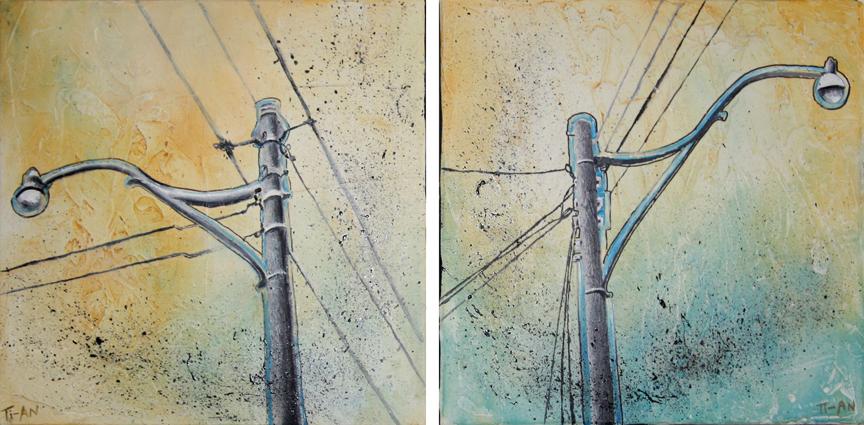 Spadina & St. Clair   12x12 each, oil and ink on canvas  2009