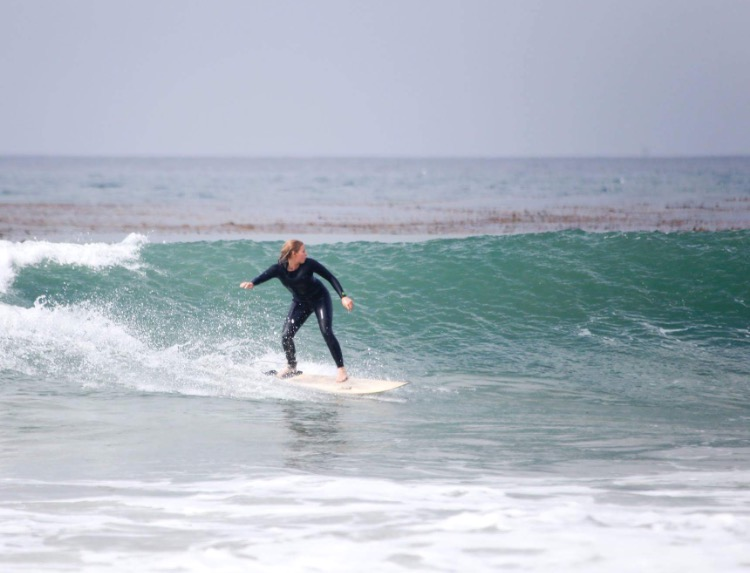 The author enjoying a wooden Firewire board and Yulex wetsuit. Photo: Kimber Rome