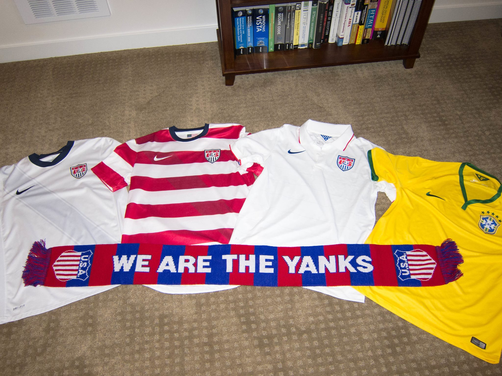 "The ""Stars and Stripes"" and ""Seleção Brasileira"" shirts are ready for the 2014 FIFA World Cup Finals"