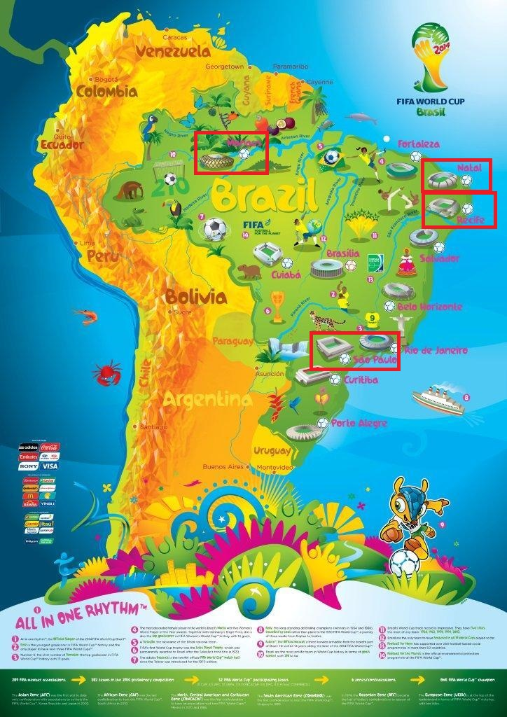 Map of 2014 FIFA World Cup Host Cities (Source: FIFA)