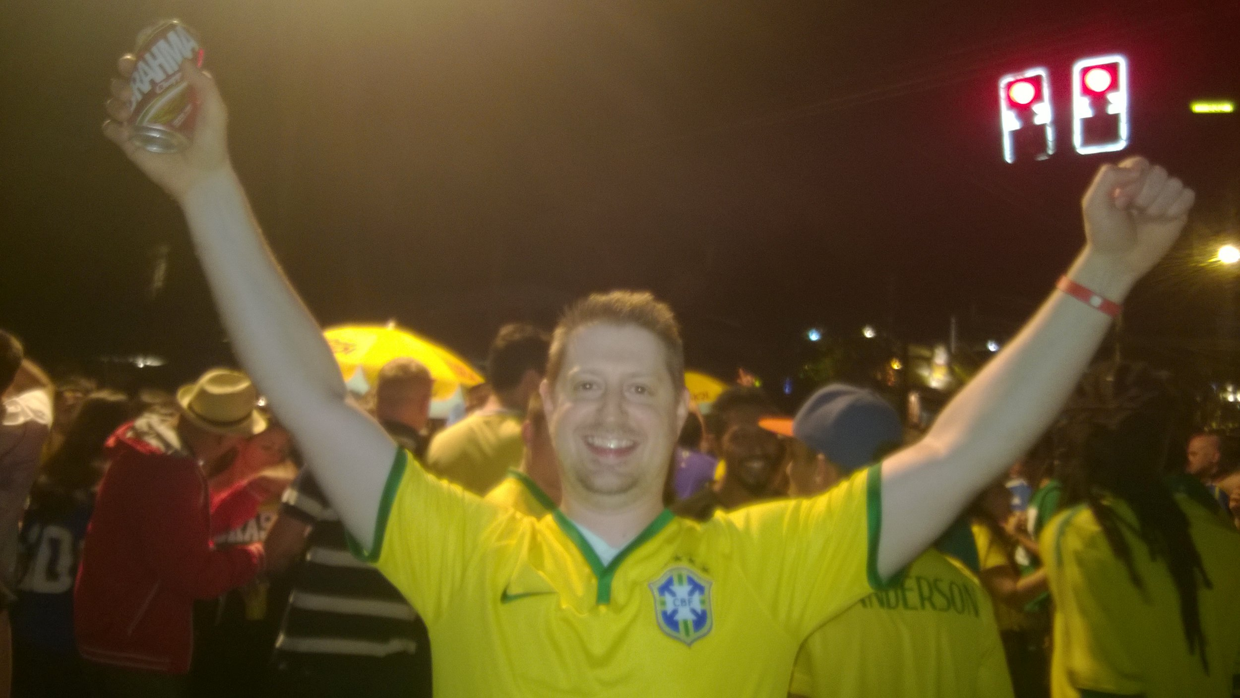 Celebrating Brazil's victory in the streets of Vila Madalena