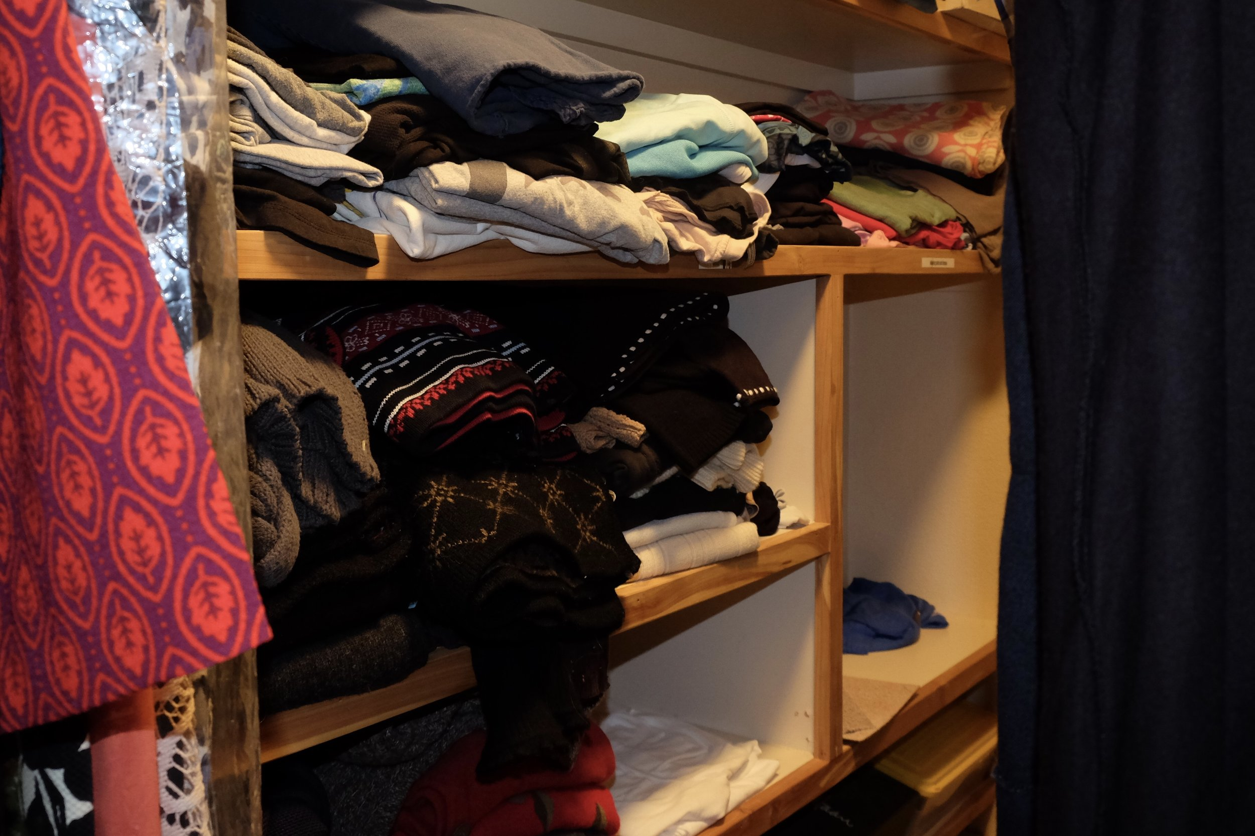 Stacks of clothing rarely stay neat