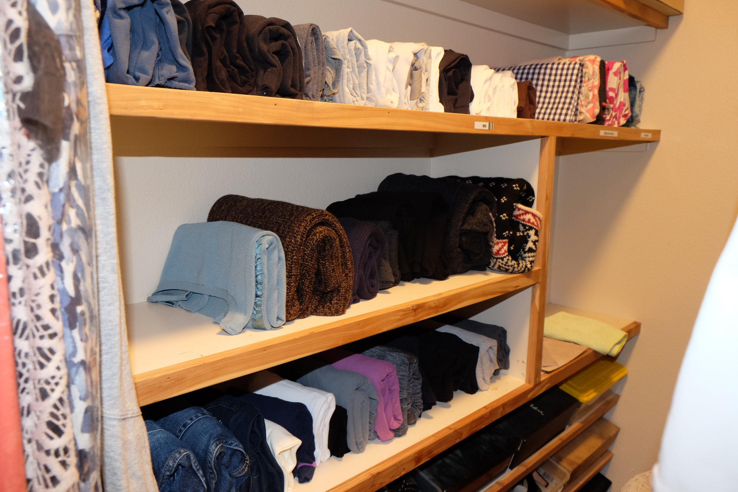 KonMari folding works on shelves as well as drawers