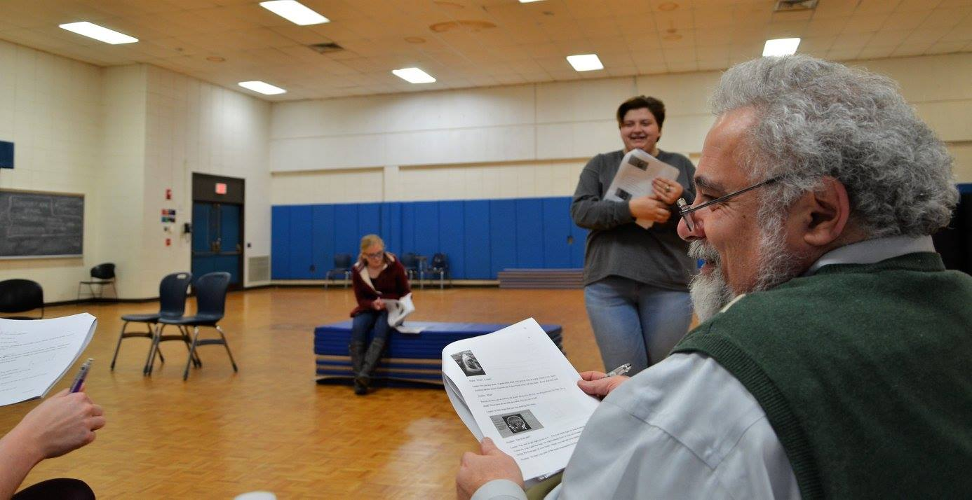 "Dr. Joe working with the cast of ""The Price You Pay: Second Chances"" at a Wednesday night rehearsal"