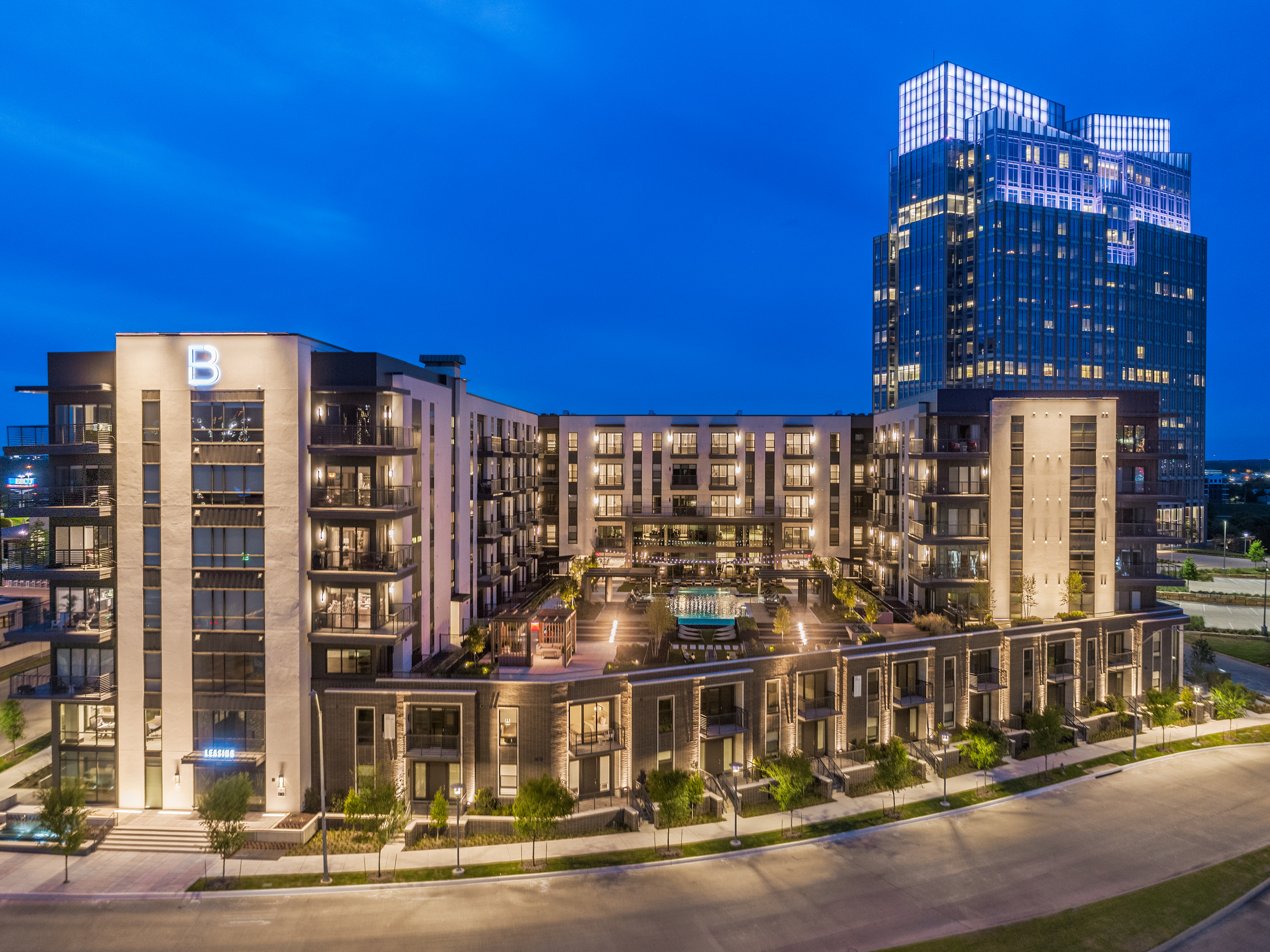 Aerial photography services for a building in Fort Worth, Texas.