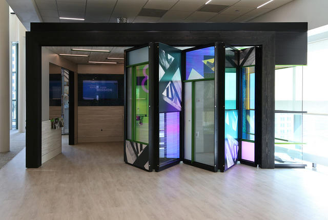 Leaf Wall - The Leaf™ Wall module allows the wall to fold and move along a ceiling track. Individual wall modules can have many configurations, including glass panels, solid panels and integrated technology panels.