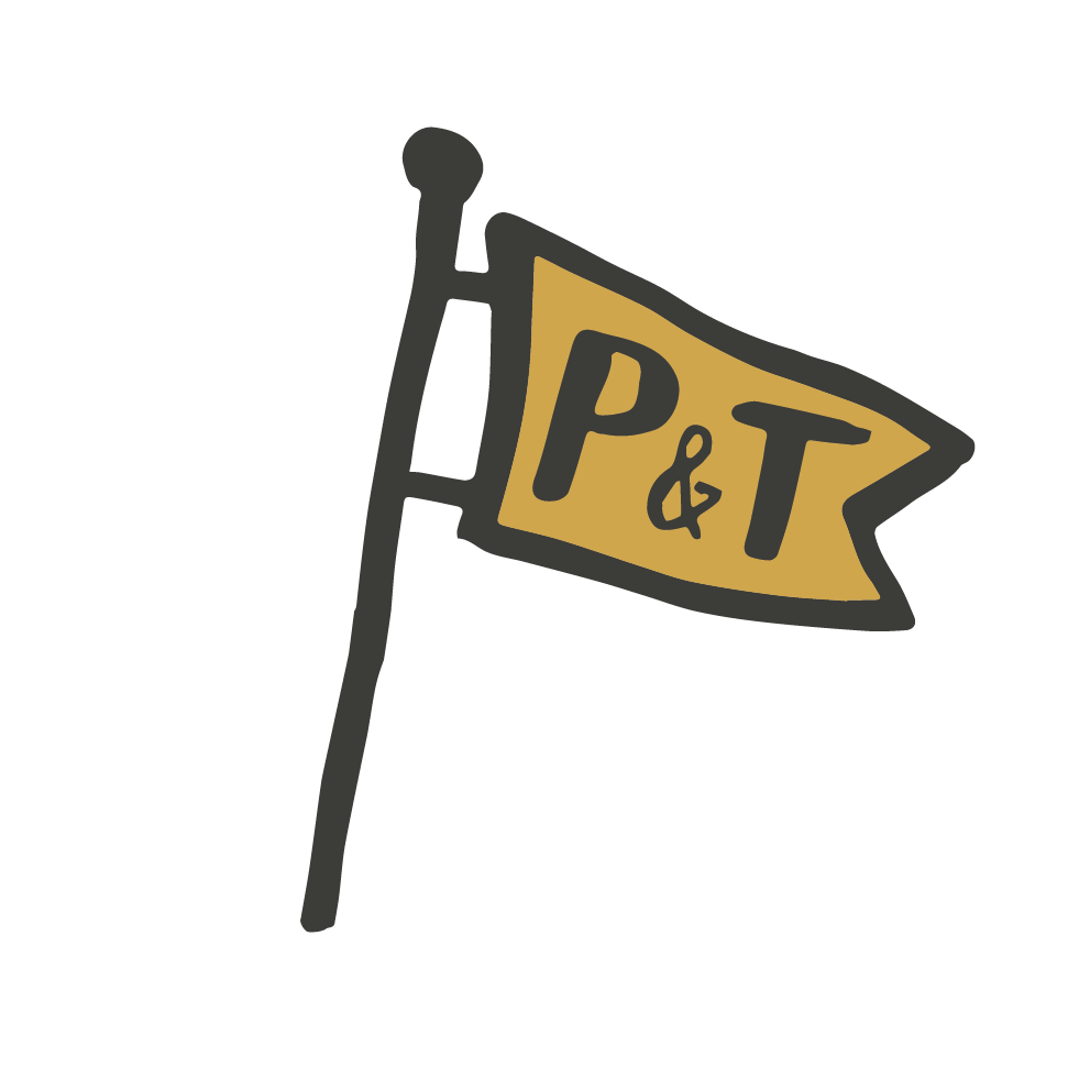 Peg and Ter's Logo // Bar and Kitchen in Shelburne, VT. Local Beer and Food