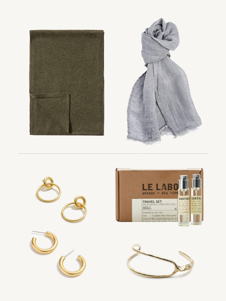WINTER SCARF - Pure Cashmere Scarf - A true winter essential. A simple, classic cashmere scarf that's perfect for bundling up in.Stonewashed Linen Scarf - Lighter weight gauze makes a great layering piece for warm winter climates and at a very affordable price point for European flax linen.PAIR WITH:Double Hoop Earrings - You can never go wrong with a simple, classic earring - they never go out of style.Chunky Small Hoop Earrings - I have a similar version of these and wear them in constant rotation.Le Labo Travel Set - Carrying a small travel sized perfume has saved me on countless trips. After spending hours in the air, a little spritz is all it takes to feel a bit more refreshed.Sculptural Cuff Bracelet - Cuff bracelets are so effortlessly chic and they fit every wrist - win, win!