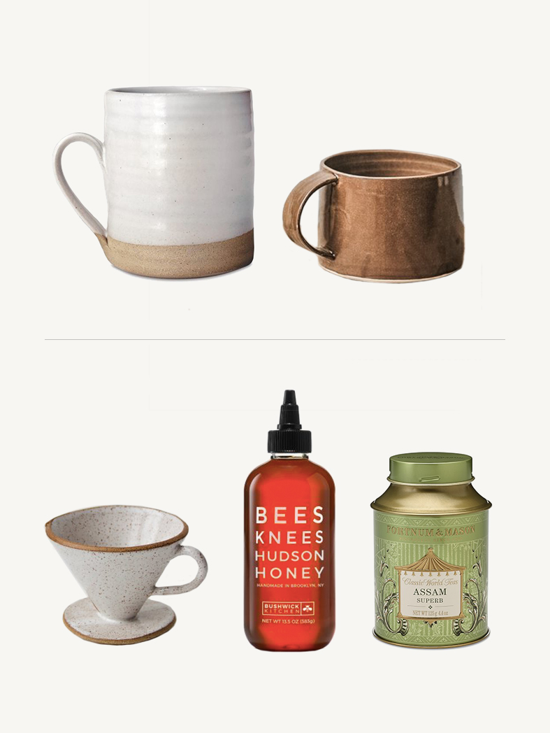 HAND CRAFTED MUG - White Silo Mug - I love the warm neutrals of this mug and the taller size is perfect for those needing a more generous cup to kick start their morning.Chestnut Stoneware Mug - I'm obsessed with the color and shape of this mug and I'm pretty sure I'm not the only one who would be!PAIR WITH:Pour Over Coffee Cone - For slow weekend mornings, this brewer is the perfect addition to your breakfast tray.Artisanal Honey - Sweeten up hot beverages with this yummy squeeze bottle. They also make a salted one that's delicious on peanut butter toast or alongside a cheese board!Assam Superb Tea - For the queen or king in your life, you can't go wrong with the worlds finest blend - it's been served to the British royal family for over 300 years.