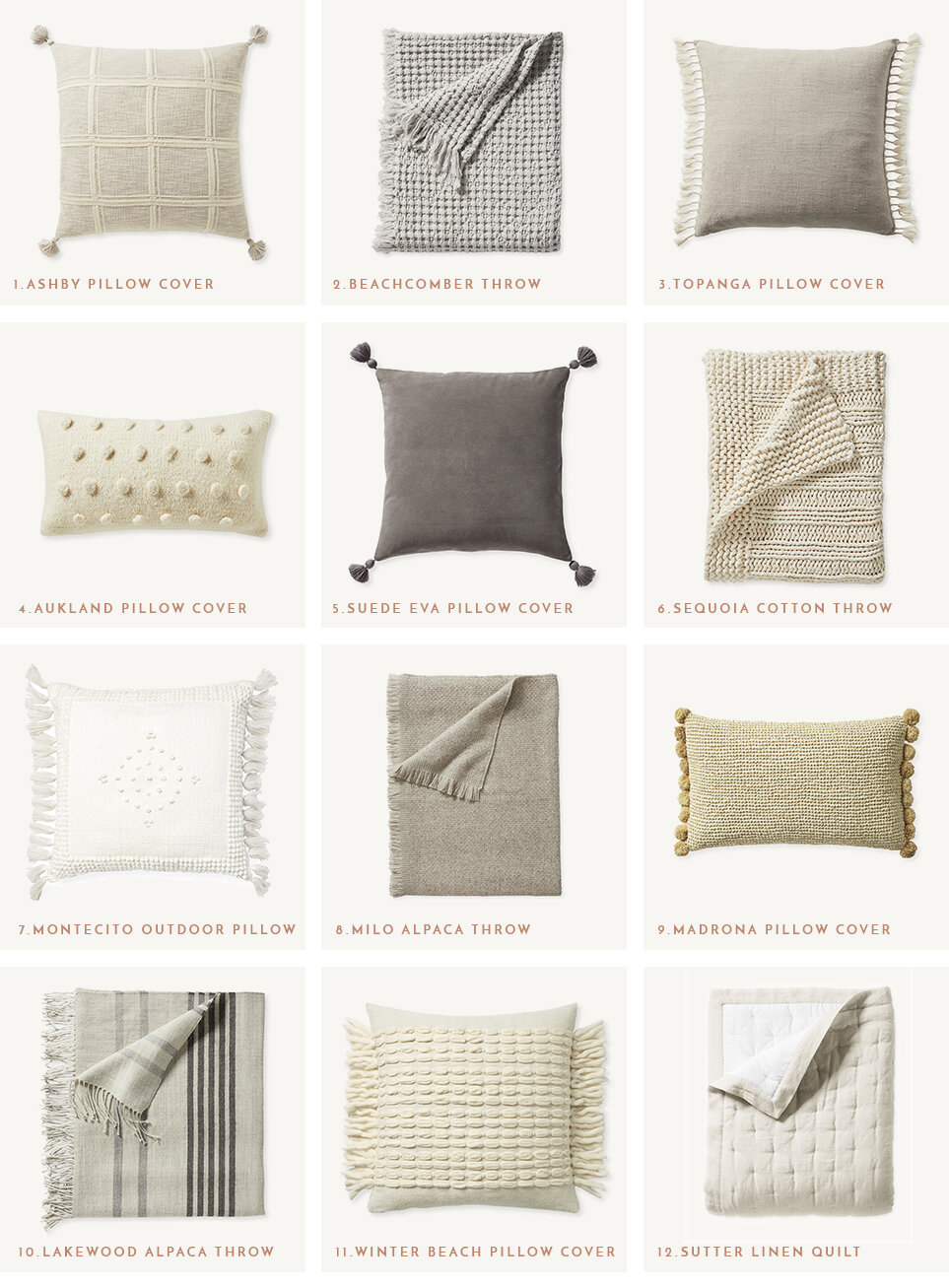 Serena & Lily neutral pillows and throws - Heather Bullard