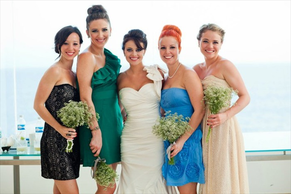 Davina and her gorgeous bridal party in Puerto Vallarta, Mexico, 2011. Photo: Chrisman Studios  Bride and bridal party's makeup and hair by Maya Goldenberg, Eco-Beauty Professional.