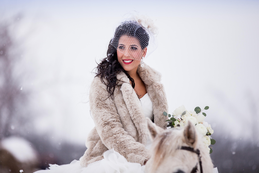 Cristina's winter wonderland wedding. Photo courtesy of Westend Studios. Makeup by Maya Goldenberg.