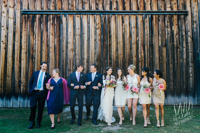 Maria and her. gorgeous bridal party! Photo courtesy of Sara Wilde. Bride and bridal party makeup by Maya Goldenberg.