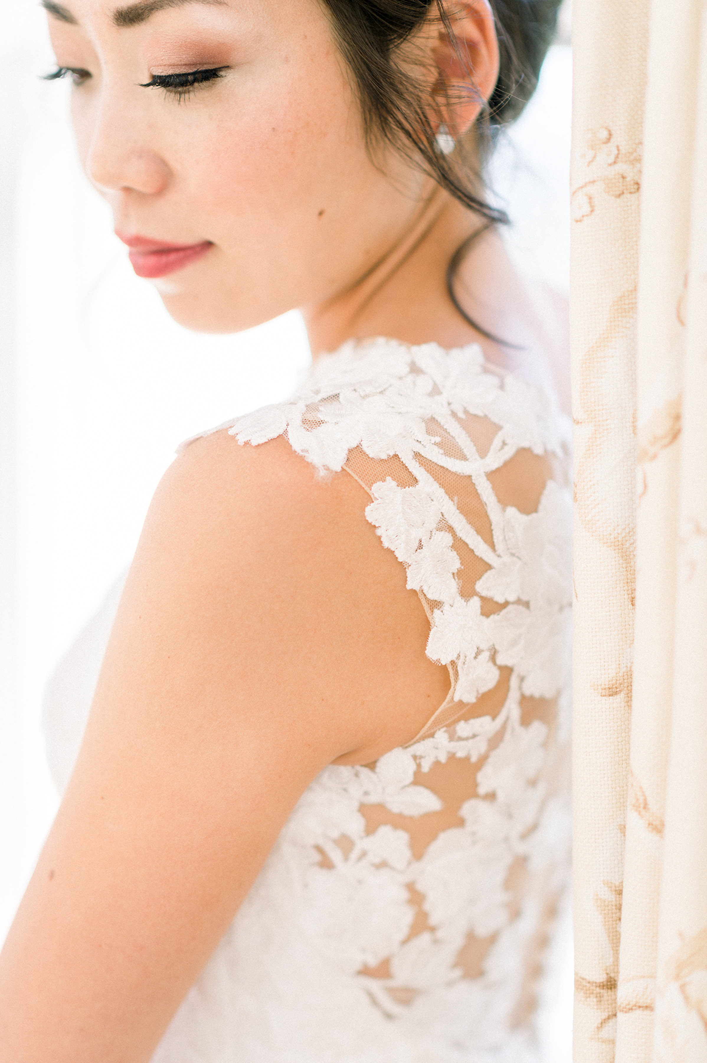The stunning bride: Mamiko. Photo by Whitney Heard. Makeup by Maya Goldenberg. Hair by Shanna Layton for Maya Goldenberg, Eco-Beauty Professional.