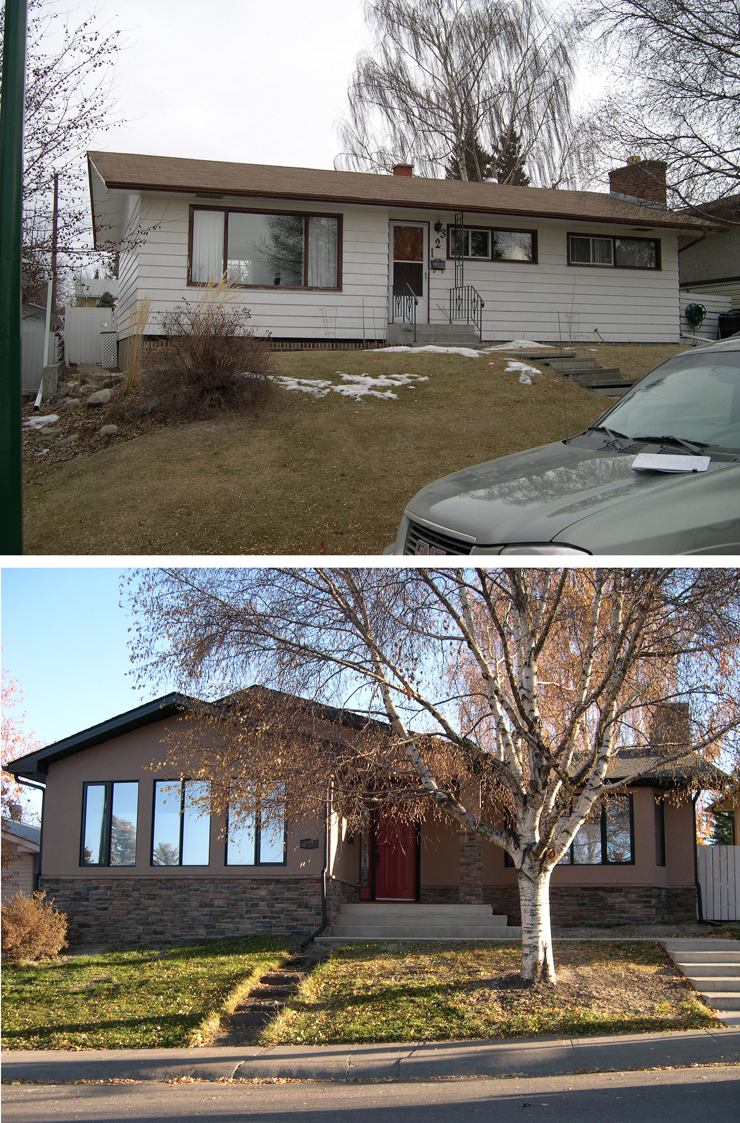 Before & After of a Home Addition in the Calgary community of Fairview