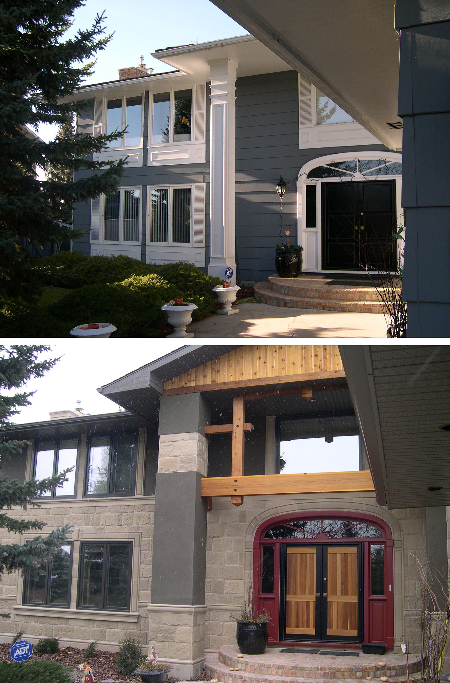 Before & After of an Exterior Renovation in the Calgary community of Lake Bonavista