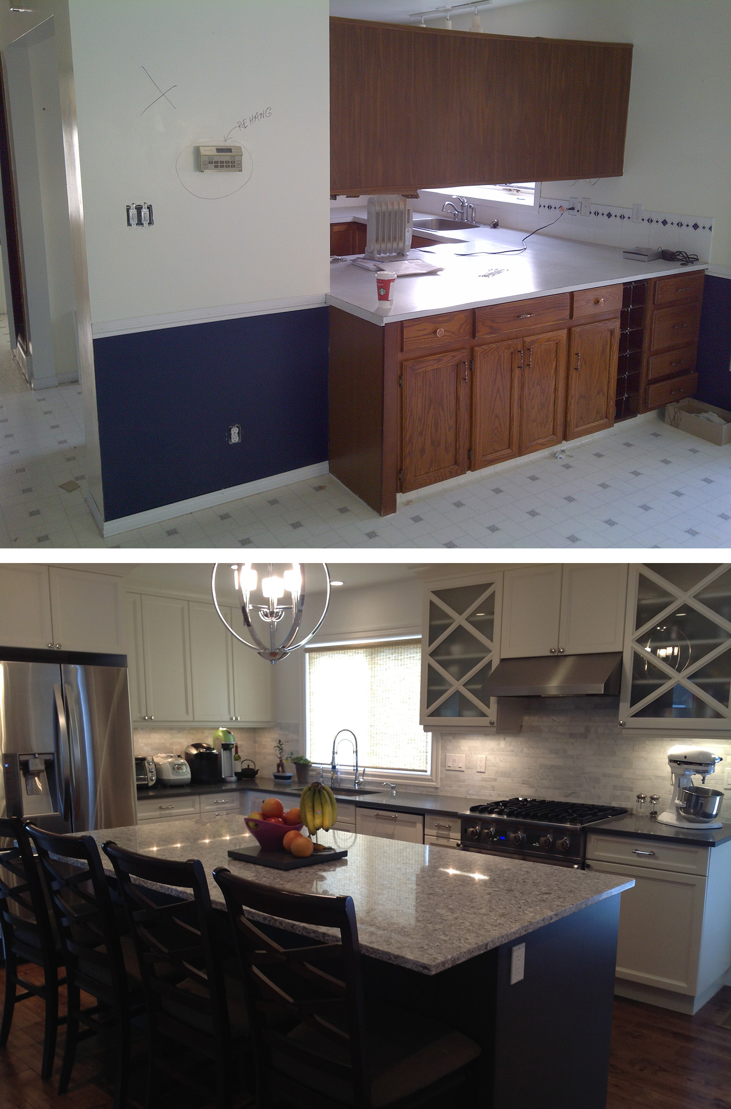 Before & After of a Kitchen Renovation in the Calgary community of Lakeview
