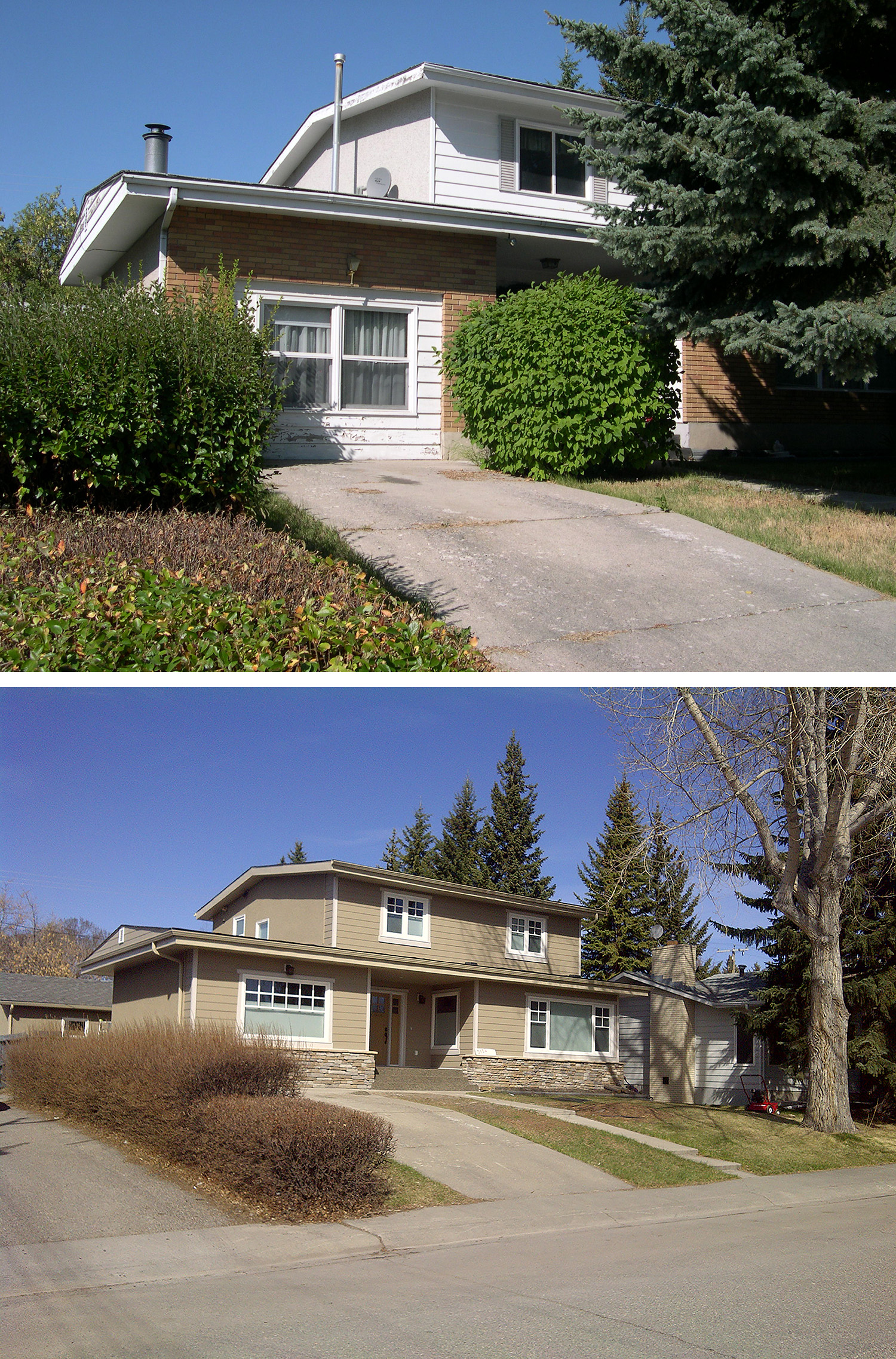 Before & After of an Exterior Renovation in the Calgary community of Lakeview