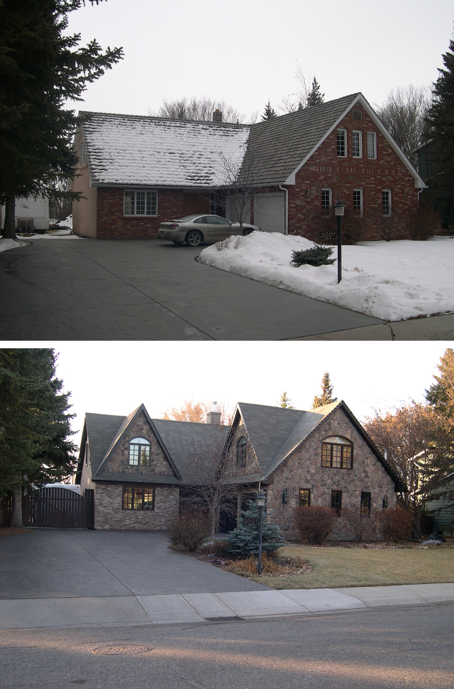 Before & After of an Exterior Renovation in the Calgary community of Lakeview Village