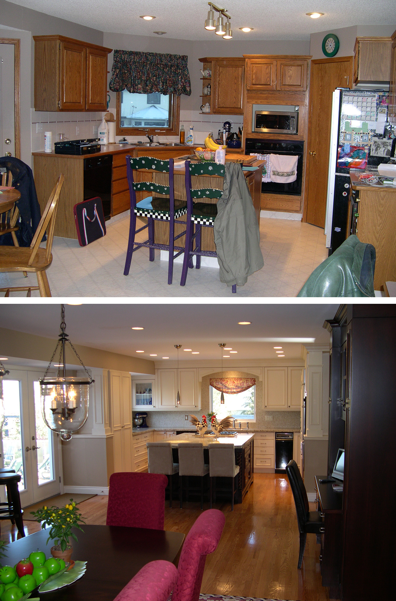 Before & After of a Kitchen Renovation in the Calgary community of Woodbine