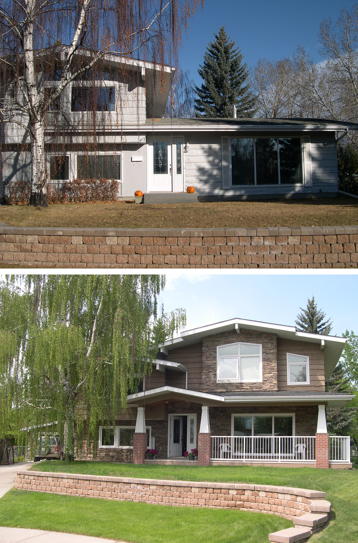 Before & After of a Home Addition in the Calgary community of Acadia